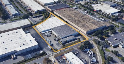 Outlined in yellow are the two connected warehouses on Directors Row that were acquired this week by Westgate Resorts.