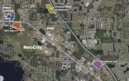 OxBow Crossings (blue) is one of four new apartment complexes now in permitting in Osceola County's NeoCity tech corridor. Combined, they could add more than 1,450 new rental units to the market.