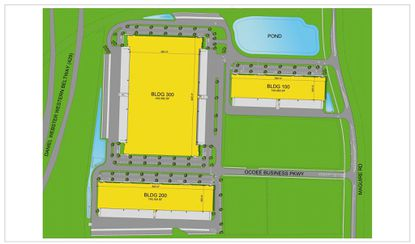 A marketing site plan showing three buildings planned by McCraney Property Company in Ocoee along Maguire Road.