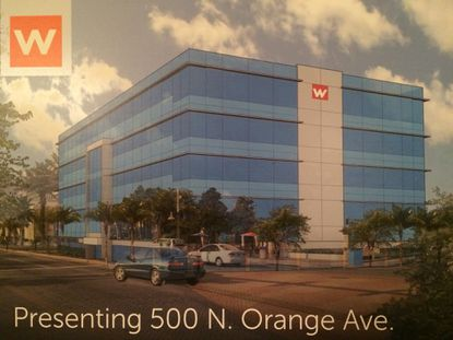 A conceptual rendering of how West Second Street Associates may renovate the Downtown Orlando office building it owns at 500 N. Orange Ave.