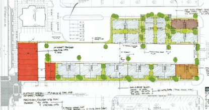 The orange-colored units on the left (fronting 1st Street) would be live-work units, and the gray and orange-colored units to the east would be apartments for this Downtown Sanford project.