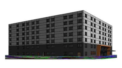 A new conceptual rendering for Grupo Atlantico's seven-story hotel planned on Carrier Drive, subject to change prior to construction plan submission.