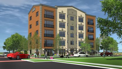 A rendering for the proposed five-story apartment building on northwest corner of Dewey Street and Magnolia Avenue.