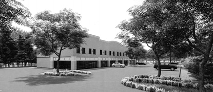 A black-and-white rendering of one of the buildings within the proposed medical campus at 3462 Old Winter Garden Road.