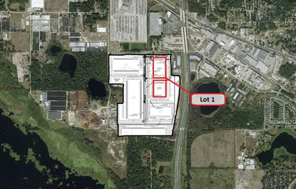 Lot 1 sit within a planned 178-acre industrial park in Apopka located on the southeast corner of Hermit Smith and General Electric Road, where two industrial buildings totaling 654,566 square feet are planned as part of Lot 1.