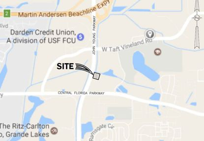 This map shows the location of a proposed Car Wash Palace with the Grande Lakes Plaza development plan, northeast of John Young and Central Florida parkways.