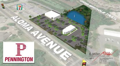 An aerial rendering of the planned retail and office development on Aloma Avenue in Oviedo, one mile east of the Central Florida Greenway (S.R. 417)