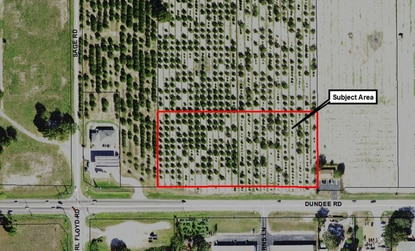 The area on Dundee Road outlined in red will be rezoned to allow for light commercial use. The Inman Groves residential subdivision will be developed immediately to the north.