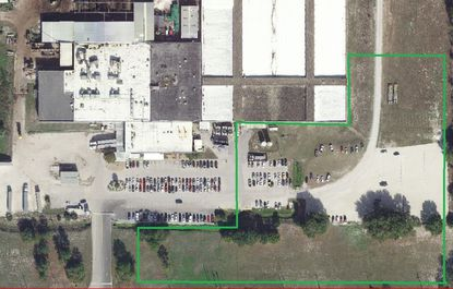 Outlined in green is an approximation of the area considered for plant, parking and stormwater expansion at Monterey Mushrooms facility in Zellwood.