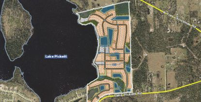 A conceptual site plan for the Lake Pickett Cluster development in northeast Orange County.