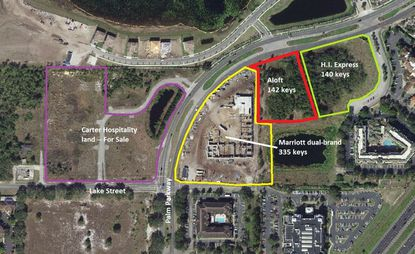 Outlined in red is the site targeted for an Aloft hotel project at Palm Parkway and Marbella Palms Court. Directly east (green) is a Holiday Inn Express site now under construction, southwest (yellow) is a dual-branded Marriott hotel under construction, and across the street (purple) are 6.44 acres for sale by a hotel group.
