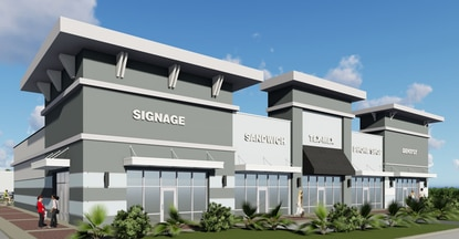 This rendering shows the proposed multi-tenant buildings planned in Shoppes at Longwood, a shopping center being developed by Elevation Development on S.R. 434.