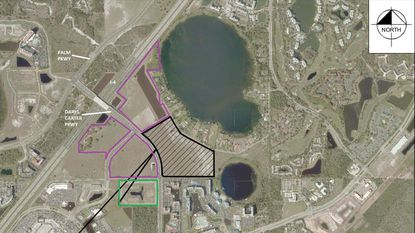 Outlined in black and striped are the 33.9 acres owned by Pride Homes along Daryl Carter Parkway for which new apartment plans were filed. Outlined in green is a new apartment complex by Northwood Ravin now under construction, and in purple a combined 69 acres owned by O'Connor Capital Partners planned for the Vineland Pointe retail center.