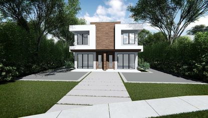 A front elevation of the proposed Kentucky Avenue duplex.