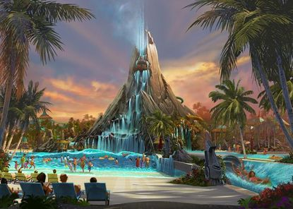 An artist's rendering of Volcano Bay water park, released on May 28.