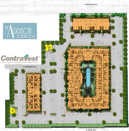 The Addison Longwood is a 4-story podium project with 277 dwelling units.