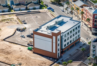 An aerial of the mixed-use Avalon Innovation Center currently under construction at 3801 Avalon Park E. Boulevard.